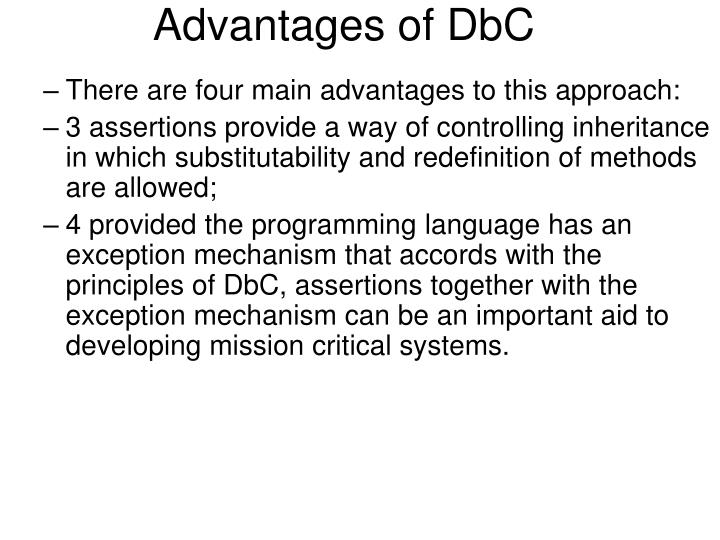 Advantages of DbC