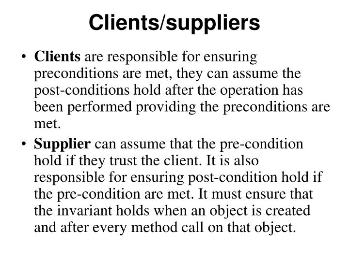 Clients/suppliers