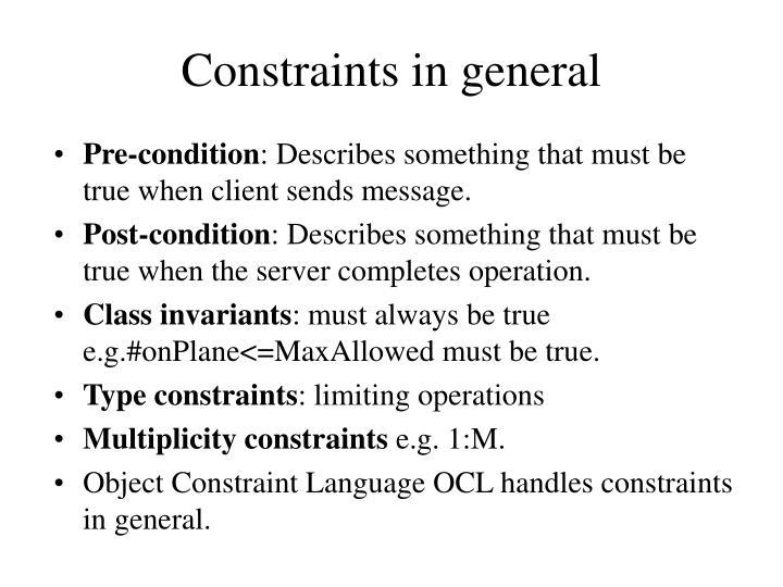 Constraints in general