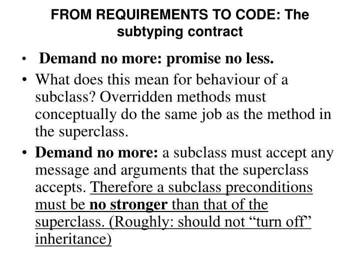FROM REQUIREMENTS TO CODE