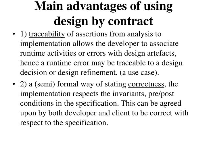 Main advantages of using design by contract
