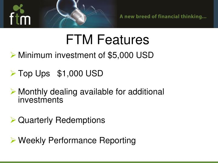 Minimum investment of $5,000 USD