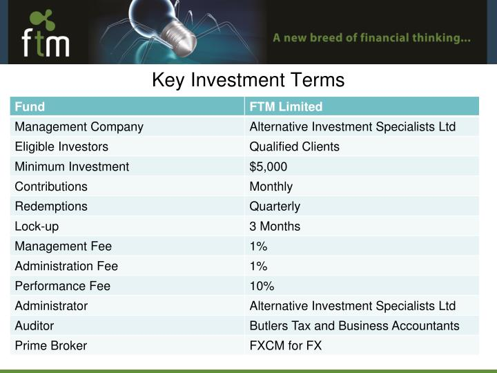 Key Investment Terms