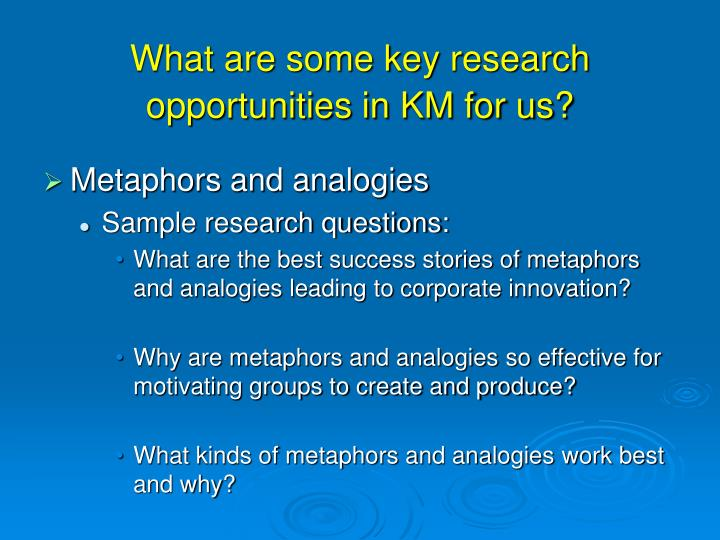 What are some key research opportunities in KM for us?