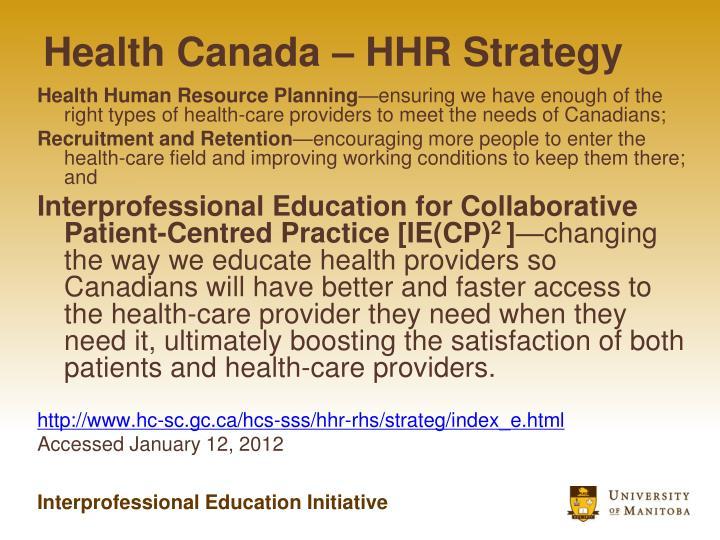 Health Canada – HHR Strategy