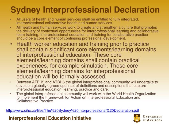 Sydney Interprofessional Declaration