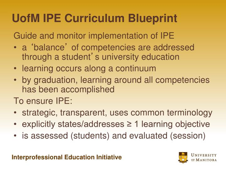 UofM IPE Curriculum Blueprint