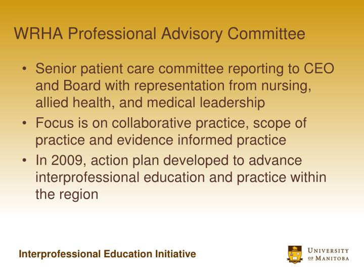 WRHA Professional Advisory Committee