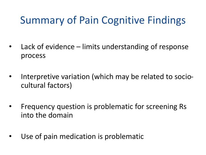 Summary of Pain Cognitive Findings
