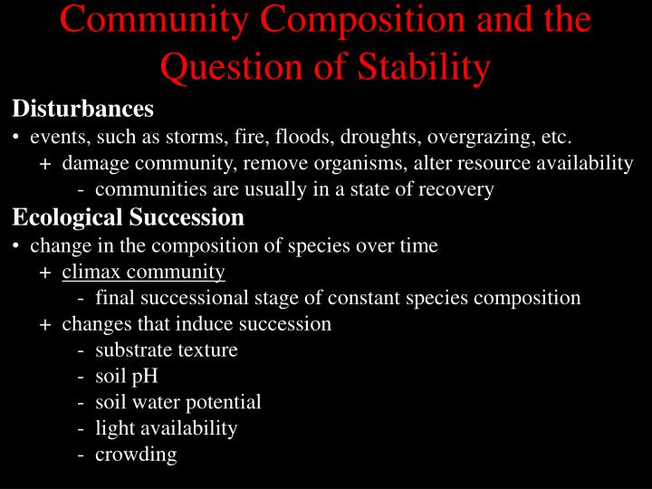 Community Composition and the Question of Stability