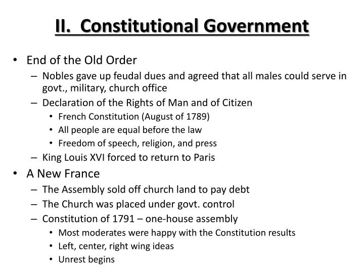 II.  Constitutional Government