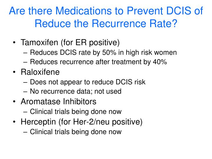 Are there Medications to Prevent DCIS of Reduce the Recurrence Rate?