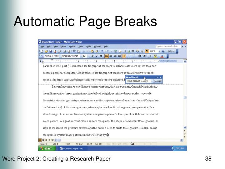 Automatic Page Breaks
