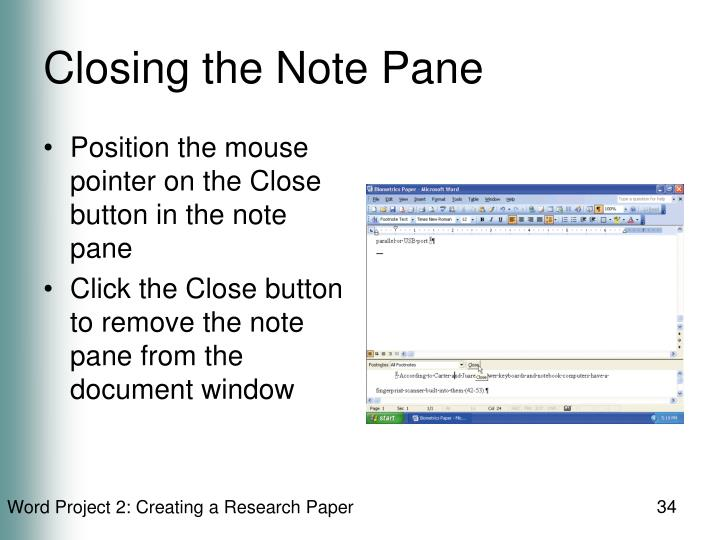 Closing the Note Pane