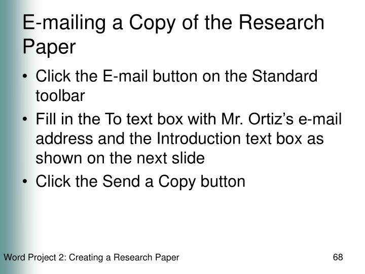 E-mailing a Copy of the Research Paper