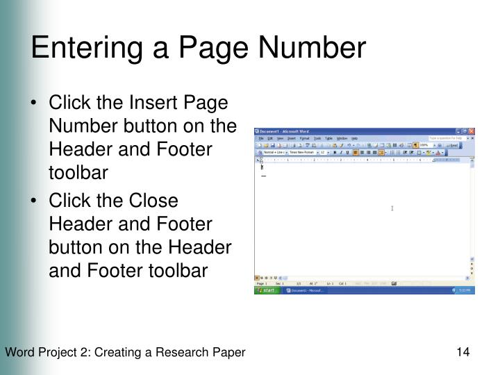 Entering a Page Number