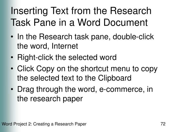 Inserting Text from the Research Task Pane in a Word Document