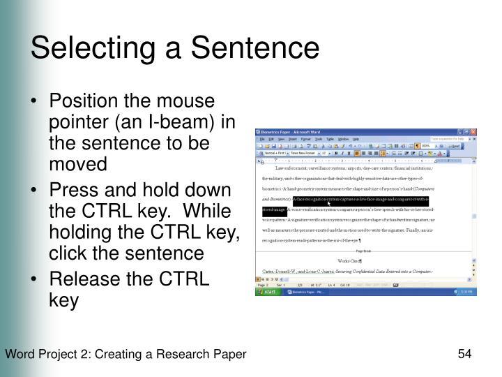 Selecting a Sentence