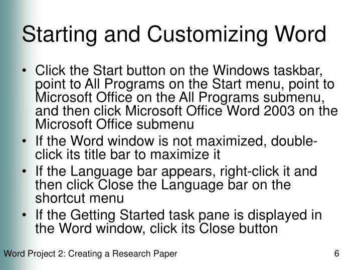 Starting and Customizing Word