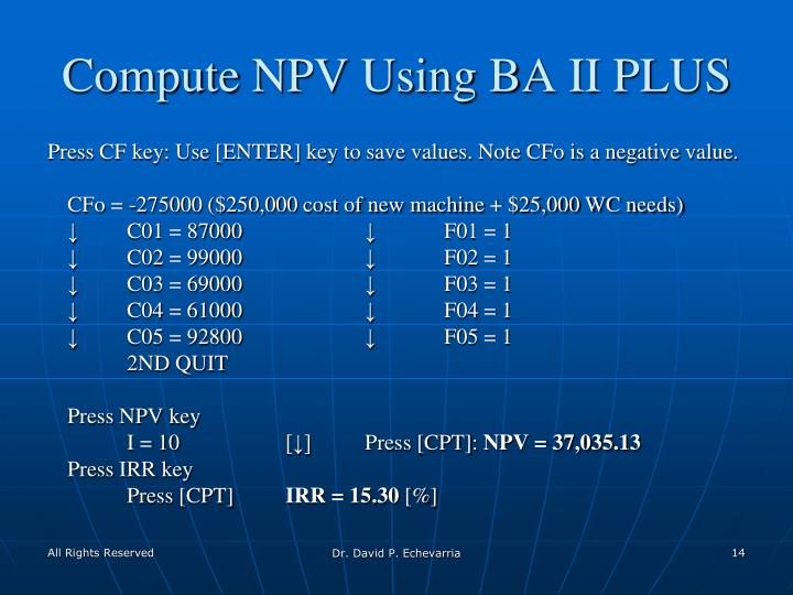 Compute NPV Using BA II PLUS