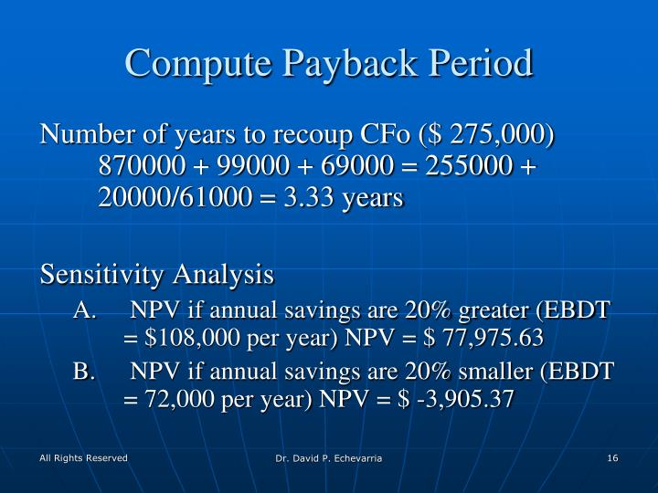 Compute Payback Period