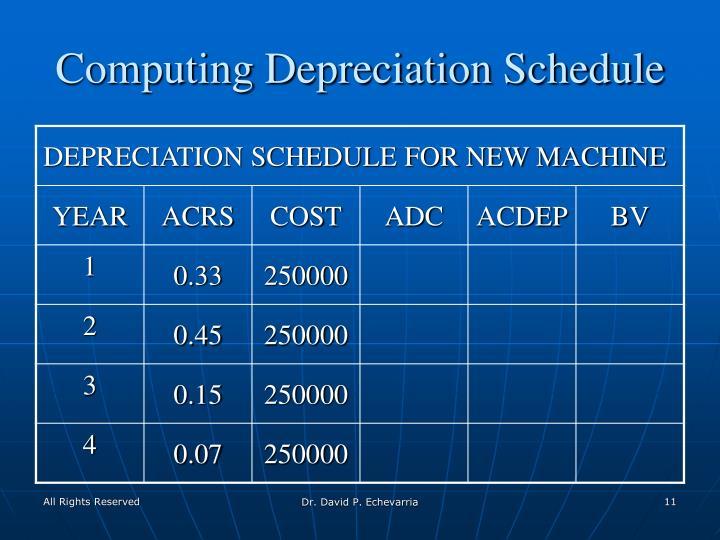 Computing Depreciation Schedule