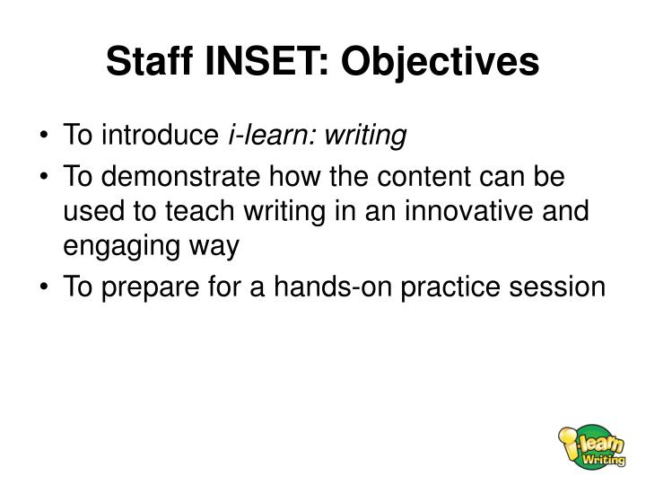 Staff inset objectives