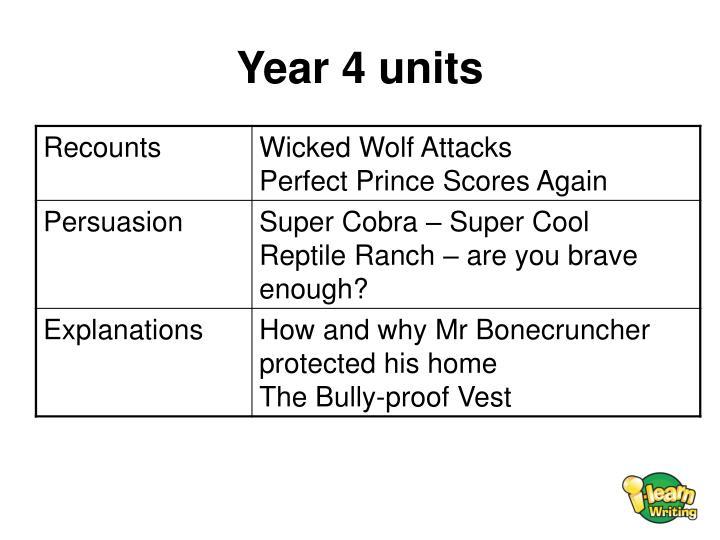 Year 4 units