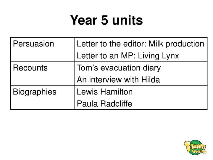 Year 5 units