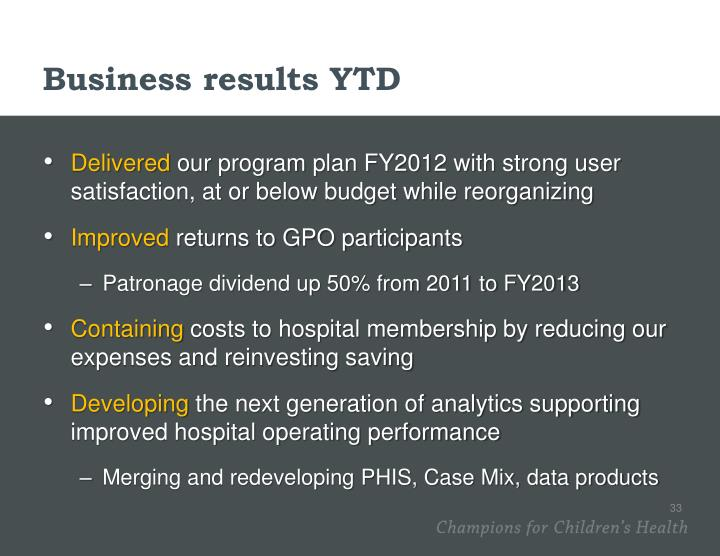 Business results YTD
