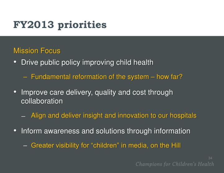 FY2013 priorities