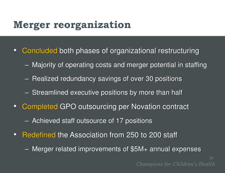 Merger reorganization