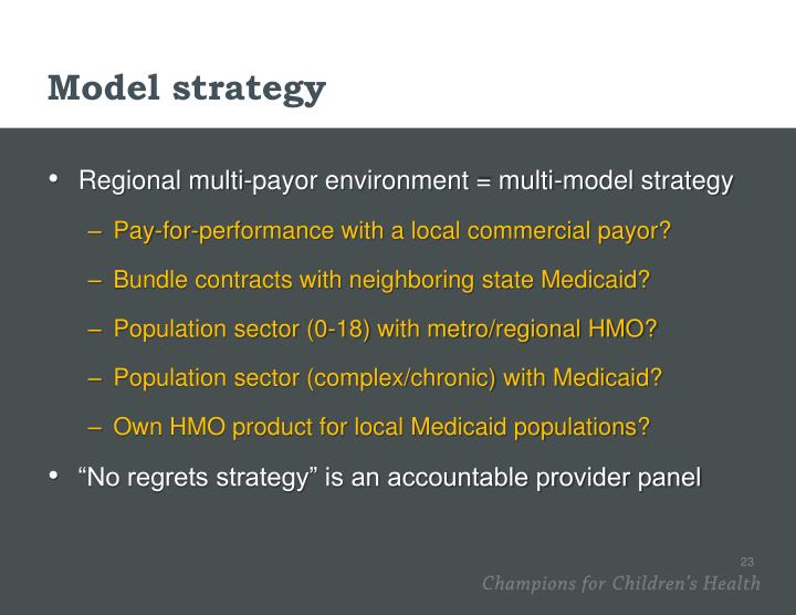 Model strategy