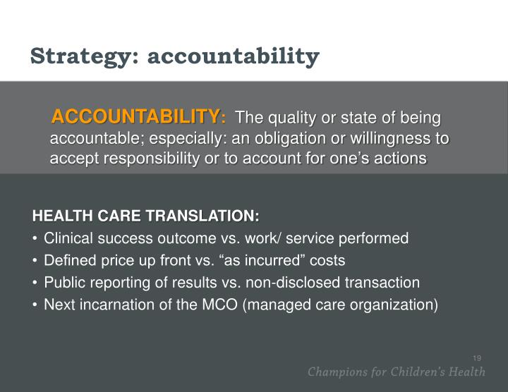 Strategy: accountability