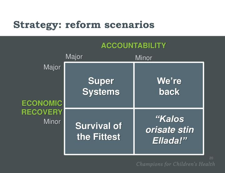 Strategy: reform scenarios