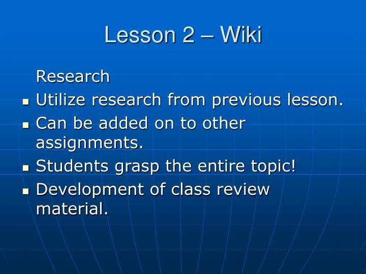 Lesson 2 – Wiki