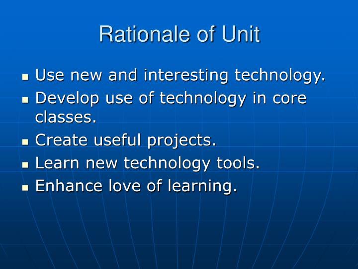 Rationale of Unit