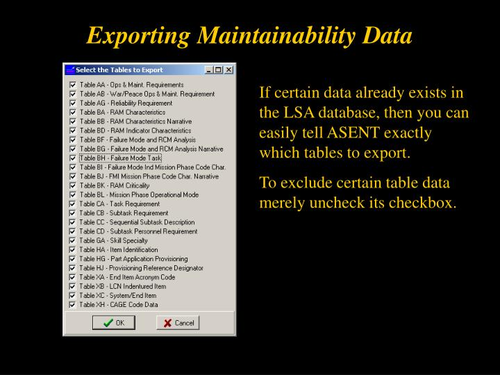 Exporting Maintainability Data