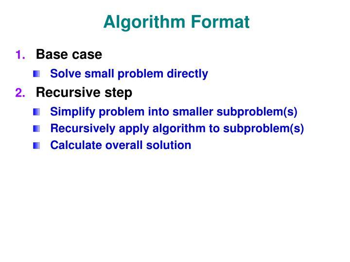 Algorithm Format
