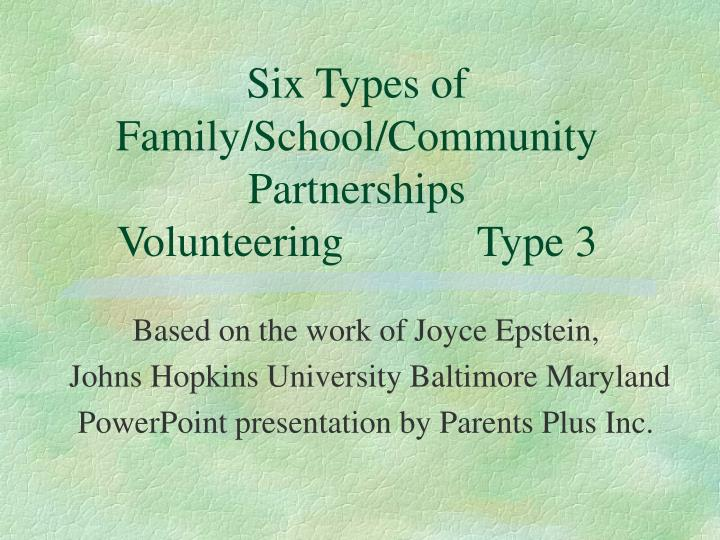 Six types of family school community partnerships volunteering type 3