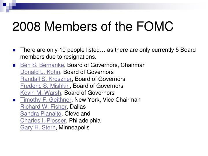 2008 Members of the FOMC