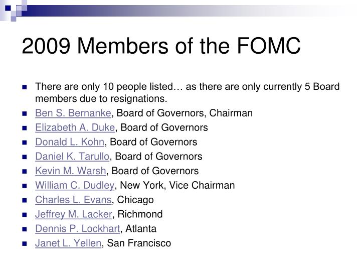 2009 Members of the FOMC