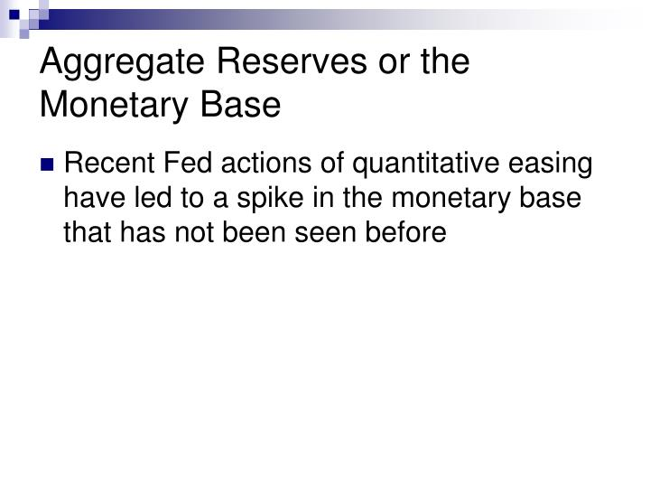 Aggregate Reserves or the Monetary Base