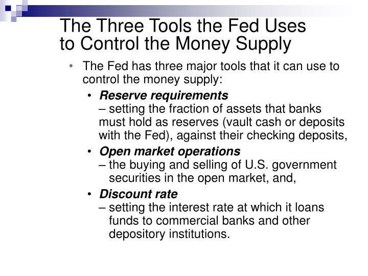 The Three Tools the Fed Uses