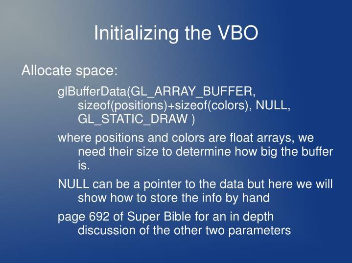 Initializing the VBO