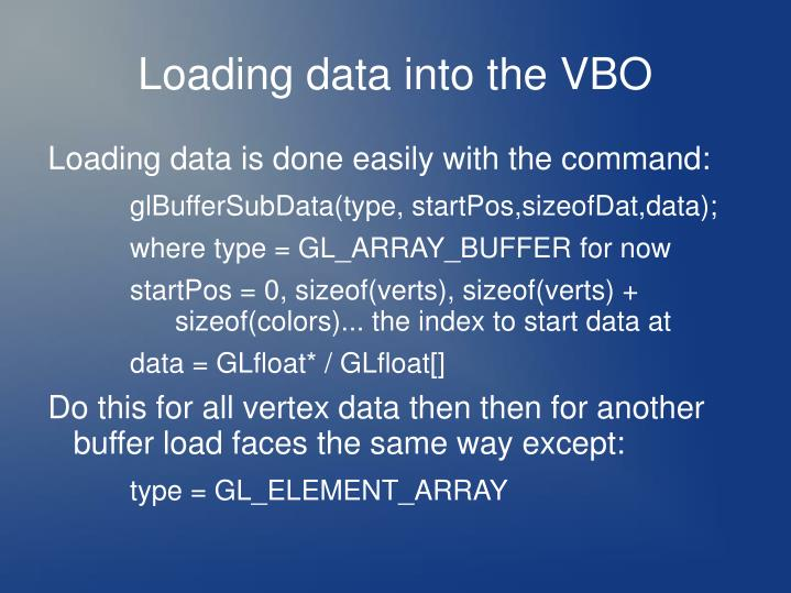 Loading data into the VBO