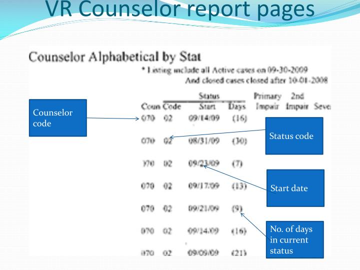 VR Counselor report pages