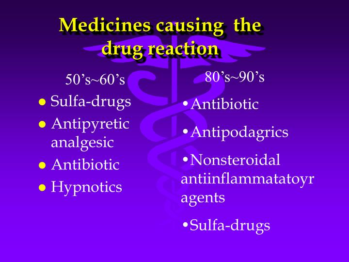Medicines causing  the drug reaction
