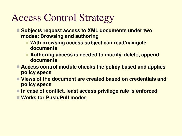Access Control Strategy