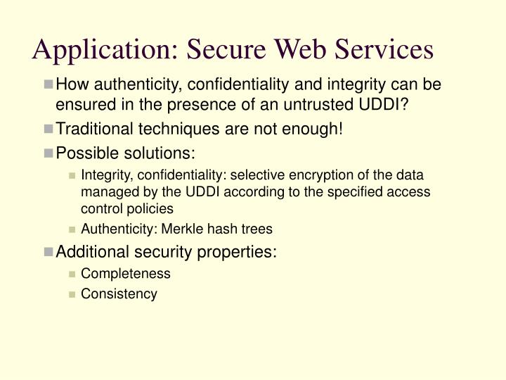 Application: Secure Web Services
